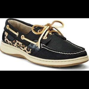 Sperry Top Siders Bluefish leopard & black shoes